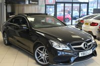 USED 2014 63 MERCEDES-BENZ E CLASS 2.0 E200 AMG SPORT 2d AUTO 184 BHP FULL BLACK LEATHER SEATS + COMAND SAT NAV + PANORAMIC SUN ROOF + MEMORY SEATS PACKAGE + BLUETOOTH + HEATED FRONT SEATS + CRUISE CONTROL + PARKING SENSORS