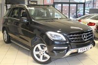 USED 2014 14 MERCEDES-BENZ M CLASS 2.1 ML250 BLUETEC SE 5d AUTO 204 BHP FULL MERCEDES BENZ SERVICE HISTORY + FULL BLACK LEATHER SEATS + COMAND SAT NAV + PANORAMIC SUNROOF + REVERSE CAMERA + 19 INCH ALLOYS + HEATED FRONT SEATS + BLUETOOTH + CRUISE CONTROL + PARKING SENSORS