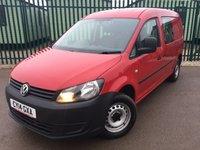 USED 2014 14 VOLKSWAGEN CADDY MAXI 1.6 C20 TDI KOMBI 140 1d 102 BHP SAT NAV N/S O/S DOORS ONE OWNER FSH 5 SEATER NO FINANCE REPAYMENTS FOR 2 MONTHS STC. (COMMERCIAL £8300+1660VAT). SATELLITE NAVIGATION. RED WITH GREY CLOTH TRIM. 5 SEATER. REAR SEAT CONVERSION. BULKHEAD. CARGO LINING. N/S & O/S LOADING DOORS. COLOUR CODED TRIMS. BLUETOOTH PREP. AIR CON. R/CD PLAYER. MOT 07/18. ONE OWNER FROM NEW. FULL SERVICE HISTORY. FCA FINANCE APPROVED DEALER. TEL 01937 849492.