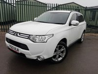 USED 2013 13 MITSUBISHI OUTLANDER 2.3 DI-D GX 3 5d 147 BHP 7 SEATER LEATHER PRIVACY FSH NO FINANCE REPAYMENTS FOR 2 MONTHS STC. 4WD. 7 SEATER. STUNNING WHITE WITH FULL BLACK LEATHER TRIM. CRUISE CONTROL. 18 INCH ALLOYS. COLOUR CODED TRIMS. PRIVACY GLASS. PARKING SENSORS. BLUETOOTH PREP. AIR CON. R/CD PLAYER. 6 SPEED MANUAL. MFSW. MOT 01/19. FULL SERVICE HISTORY. FCA FINANCE APPROVED DEALER. TEL 01937 849492