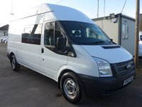 2013 FORD TRANSIT 2.2 T350 HIGH ROOF 6 SEATER CREW VAN, 124 BHP, 1 COMPANY OWNER £7795.00