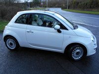 USED 2013 63 FIAT 500 1.2 LOUNGE 3d 69 BHP ** GLASS ROOF , ALLOYS , IN WHITE , ONLY 36K **