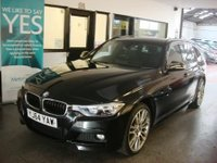 USED 2014 64 BMW 3 SERIES 2.0 320D XDRIVE M SPORT TOURING 5d 181 BHP One owner, BMW history, January 2019 advisory free Mot. Finished in Metallic Sapphire Black with Black Dakota leather.