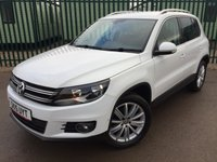 USED 2015 15 VOLKSWAGEN TIGUAN 2.0 MATCH TDI BLUEMOTION TECHNOLOGY 4MOTION 5d 139 BHP SAT NAV FSH NO FINANCE REPAYMENTS FOR 2 MONTHS STC. 4WD. SATELLITE NAVIGATION. STUNNING WHITE WITH GREY CLOTH TRIM. 18 INCH ALLOYS. COLOUR CODED TRIMS. PRIVACY GLASS. PARKING SENSORS. BLUETOOTH PREP. AIR CON. MONITOR. R/CD RADIO. 6 SPEED MANUAL. MFSW. ROOF BARS. MOT 01/19. ONE PREV OWNER. FULL SERVICE HISTORY. FCA FINANCE APPROVED DEALER. TEL 01937 849492