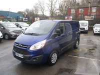 2016 FORD TRANSIT CUSTOM 2.2 290 TREND LR P/V 125 BHP TURBO DIESEL IMPACT BLUE METALLIC LOW MILES 17,000  REMAIN FORD WARRANTY 2019    £12995.00
