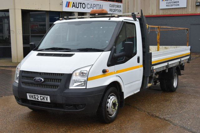 2012 62 FORD TRANSIT 2.2 350 DRW 3d 124 BHP LR EXTRA LWB RWD DROPSIDE R.CAM. ONE OWNER FROM NEW