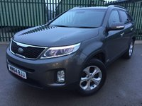 USED 2014 64 KIA SORENTO 2.2 CRDI KX-2 5d 195 BHP 7 SEATER LEATHER PRIVACY ONE OWNER FSH NO FINANCE REPAYMENTS FOR 2 MONTHS STC. 4WD. FACELIFT. 7 SEATER. STUNNING GREY MET WITH FULL BLACK LEATHER TRIM. HEATED SEATS. CRUISE CONTROL. 17 INCH ALLOYS. COLOUR CODED TRIMS. PRIVACY GLASS. PARKING SENSORS. REVERSING CAMERA. BLUETOOTH PREP. CLIMATE CONTROL. MONITOR. TRIP COMPUTER. R/CD PLAYER. 6 SPEED MANUAL. MFSW. ROOF BARS. MOT 12/18. ONE OWNER FROM NEW. FULL SERVICE HISTORY. FCA FINANCE APPROVED DEALER. TEL 01937 849492