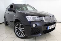 USED 2014 64 BMW X3 3.0 XDRIVE30D M SPORT 5DR AUTOMATIC 255 BHP HEATED LEATHER SEATS + SAT NAVIGATION PROFESSIONAL + PARKING SENSOR + BLUETOOTH + CRUISE CONTROL + MULTI FUNCTION WHEEL + 19 INCH ALLOY WHEELS