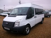 USED 2012 62 FORD TRANSIT 2.2 350 14 STR 1d 134 BHP VERY CLEAN MINIBUS WITH 135HP ENGINE AND FULL SERVICE HISTORY.