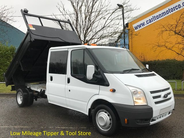 2014 14 FORD TRANSIT 2.2 100 T350 D/Cab Tipper Low Mileage Toolstore DRW Delivery T,B,A