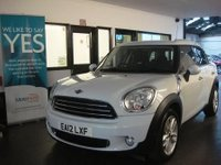 "USED 2012 12 MINI COUNTRYMAN 1.6 COOPER D 5d 112 BHP This Mini Countryman is finished in white with Black cloth seats. It is fitted with power steering, remote locking, bluetooth phone, DAB USB Aux port, 17"" Alloys, park assist, Chrome pack, 4 x electric windows and mirrors, climate control, start stop technology, cruise control and much more. It has had two owners from new, the first being a Mini agent and comes with a full service history consisting of 3 stamps from Mini. (Cooper of Norwich BMW)."
