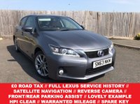 USED 2013 63 LEXUS CT 1.8 200H ADVANCE 5d AUTO 136 BHP FULL LEXUS SERVICE HISTORY + 1 FORMER  OWNER + SATELLITE NAVIGATION + FULL LEATHER TRIM + FRONT/REAR PARKING SENSORS + CRUISE CONTROL