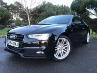 """USED 2014 64 AUDI A5 2.0 TDI QUATTRO S LINE S/S 2d AUTO 174 BHP 1 OWNER A5 S LINE COUPE WITH FULL AUDI SERVICE HISTORY AND A SUPER SPEC INC SAT NAV LEATHER 19"""" ALLOYS"""