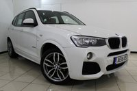 USED 2015 15 BMW X3 2.0 XDRIVE20D M SPORT 5DR AUTOMATIC 188 BHP FULL BMW SERVICE HISTORY + HEATED LEATHER SEATS + SAT NAVIGATION + PARKING SENSOR + BLUETOOTH + CRUISE CONTROL + MULTI FUNCTION WHEEL + CLIMATE CONTROL + 19 INCH ALLOY WHEELS
