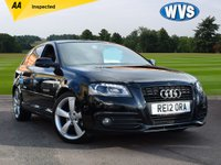 "USED 2012 12 AUDI A3 2.0 SPORTBACK TDI S LINE SPECIAL EDITION 5d 138 BHP Just £7499 will buy you this well cared for 2012 Audi A3 2.0tdi 140 S Line special edition in black with a black part leather sports interior, privacy glass, 18"" alloys, xenon headlamps and BOSE speakers. Supplied with a comprehensive service history and 2 keys."
