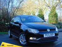 USED 2015 15 VOLKSWAGEN POLO 1.0 SE 3d 60 BHP 128 POINT AA INSPECTED*** MANUFACTURERS WARRANTY MARCH 2019