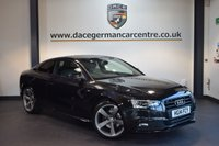 USED 2014 14 AUDI A5 3.0 TDI S LINE BLACK EDITION 2DR AUTO 204 BHP + FULL BLACK LEATHER INTERIOR + FULL SERVICE HISTORY + 1 OWNER FROM NEW + BLUETOOTH + HEATED SPORT SEATS + DAB RADIO + BANG AND OLUFSEN SPEAKERS + CRUISE CONTROL + RAIN SENSORS + PARKING SENSORS + 19 INCH ALLOY WHEELS +