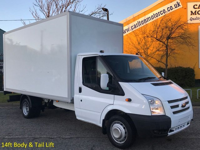 2014 14 FORD TRANSIT 2.2 350 EF LWB 14ft Luton / Box Tail Lift DRW Ex Lease Delivery T,B,A