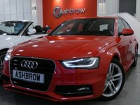 USED 2014 64 AUDI A4 AVANT 2.0 TDI S LINE 5d 150 S/S 1 OWNER FROM NEW, UPGRADE AUDI MUSIC INTERFACE, DAB, BI XENON HEADLIGHT W/ LED DRL, LED OPTIC TAIL LIGHTS, BLACK 1/2 LEATHER S LINE SPORTS SEATS, CRUISE, BLUETOOTH, REAR PARKING SENSORS, TYRE PRESSURE MONITORING SYSTEM, LEATHER 3 SPOKE SPORTS MULTI FUNCTION STEERING WHEEL, DIS W/ DIGITAL SPEED DISPLAY, AUTO DIMMING REAR VIEW MIRROR, AUTO LIGHTS + WIPERS, ELECTRIC WINDOWS, ELECTRICALLY OPERATED HEATED DOOR MIRRORS, ALUMINIUM ROOF RAILS, 18 IN S LINE ALLOYS, BLACK CLOTH HEADLINING, VAT QUALIFYING
