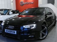 USED 2014 14 AUDI A5 SPORTBACK 2.0 TDI QUATTRO S LINE BLACK EDITION AUTO 5d 177 S/S UPGRADE TECHNOLOGY PACK INCLUDING AUDI MUSIC INTERFACE (AMI) DVD PLAYER MMI NAVIGATION PLUS RADIO SYSTEM FOR MMI PLUS & VOICE DIALOGUE SYSTEM, UPGRADE PARKING SYSTEM ADVANCED WITH FRONT & REAR SENSORS AND REAR VIEW CAMERA, UPGRADE HEATED FRONT SEATS, BANG & OLUFSEN SOUND SYSTEM, PRIVACY GLASS, DAB RADIO, BLUETOOTH PHONE & MUSIC STREAMING, WIRELESS LAN CONNECTION (WLAN), QUATTRO 4 WHEEL DRIVE, 19 INCH ROTOR ALLOYS, LED XENONS, FULL BLACK LEATHER, SPORT SEATS, LEATHER FLAT BOTTOM MFSW, CRUISE