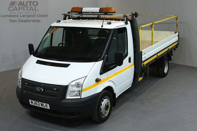 2013 63 FORD TRANSIT 2.2 350 DRW 2d 124 BHP LR LWB RWD REVERSE CAMERA DROPSIDE LORRY   ONE OWNER FROM NEW