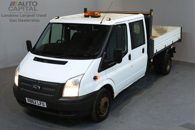 2013 62 FORD TRANSIT 2.2 350 DRW 4d 124 BHP LR LWB DOUBLE CAB 6 SEAT TIPPER 2 OWNER FROM NEW