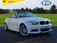 "USED 2012 04 BMW 1 SERIES 2.0 120D M SPORT 2d 175 BHP Finished in white with a black hood and contracting Ivory full leather M Sports interior, this is a 2012 BMW 120D M Sport convertible with BMW PROFESSIONAL SAT NAV, BOSTON CREAM LEATHER, XENON HEADLAMPS, COMFORT PACK, 18"" DOUBLE SPOKE ALLOYS, HEATED FRONT SEATS, SERVOTRONIC, STORAGE PACK, GREY POPLAR WOOD INTERIOR TRIM AND A TELEPHONE USB INTERFACE. Just 2 keepers from new with 2 keys and 5 stamps in the service book."