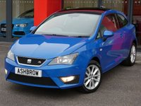 USED 2012 62 SEAT IBIZA 1.2 TSI FR 3d 105 BHP UPGRADE PANORAMIC SUN ROOF, UPGRADE BLUETOOTH PHONE, CRUISE CONTROL, AUX & USB INPUTS, MANUAL 5 SPEED GEARBOX, FRONT FOG LIGHTS, 16 INCH 10 SPOKE ALLOYS, BLACK CLOTH INTERIOR, SPORT SEATS, LEATHER FLAT BOTTOM STEERING WHEEL, STEERING COLUMN REMOTE CONTROLS, AIR CONDITIONING, CD HIFI, DIS TRIP COMPUTER, AIRBAGS WITH PASSENGER OFF FUNCTION, 3x 3 POINT REAR SEAT BELTS, FOLDING REAR SEATS, ISO FIX, ELECTRIC WINDOWS, ELECTRIC DOOR MIRRORS, ESP TRACTION CONTROL.  SERVICE HISTORY, HPI  CLEAR, £30 RFL