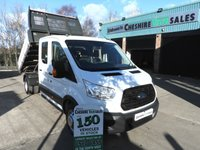 2016 FORD TRANSIT 2.2 350 L3 DCB TIPPER 125 BHP CREW CAB LOW MILES CHOICE £17495.00