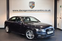 USED 2015 15 AUDI A4 2.0 TDI S LINE 4DR 148 BHP + HALF LEATHER INTERIOR + FULL AUDI SERVICE HISTORY + SATELLITE NAVIGATION + BLUETOOTH + SPORT SEATS + DAB RADIO + CRUISE CONTROL + RAIN SENSORS + PARKING SENSORS + 18 INCH ALLOY WHEELS +