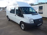 2014 FORD TRANSIT 2.2 T350 6 SEATER CREW CAB, 124 BHP, FULL SERVICE HISTORY. £8995.00