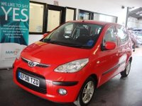 USED 2008 08 HYUNDAI I10 1.1 COMFORT 5d 65 BHP This i10 is finished in Red with Black cloth seats. It is fitted with power steering, remote locking, electric windows, air conditioning, alloy wheels, CD Stereo and more. It has had two owners, last lady since 2014. It has a full service history and we will supply it with a service, 12 months MOT (existing one is April 2018) and a 6 month warranty which can be extended.  Its been serviced by Hyundai 5 times and 3 independently on an annual basis. Finance & extended warranties are available.