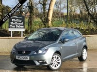 "USED 2015 SEAT IBIZA 1.4 TOCA 3d 85 BHP ONLY 22,600 MILES, TOUCHSCREEN SAT NAV, BLUETOOTH, 16"" ALLOYS"