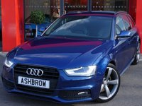 USED 2014 64 AUDI A4 AVANT 2.0 TDI S LINE BLACK EDITION 5d 177 S/S UPGRADE TECHNOLOGY PACK INCLUDING AUDI MUSIC INTERFACE FOR IPOD/USB DEVICES (AMI) DVD PLAYER MMI NAVIGATION PLUS RADIO SYSTEM FOR MMI PLUS & VOICE DIALOGUE SYSTEM, UPGRADE FINE NAPPA LEATHER S LINE INTERIOR, UPGRADE FRONT & REAR LEATHER ARM RESTS, UPGRADE AUDI PARKING SYSTEM PLUS FRONT & REAR WITH DISPLAY, 19 INCH ROTOR ALLOY WHEELS, BLUETOOTH PHONE & MUSIC STREAMING, DAB RADIO, BANG & OLUFSEN SOUND SYSTEM, 1 OWNER FROM NEW, FULL AUDI SERVICE HISTORY