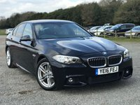 USED 2016 16 BMW 5 SERIES 2.0 525D M SPORT 4d AUTO 215 BHP JUST SERVICED, ONE OWNER, BLUE-TOOTH PREP, KEY LESS GO, FULL LEATHER TRIM, ALLOYS, REAR PARKING SENSORS, HEATED SEATS, CLIMATE CONTROL, SATTELITE NAVIGATION, REVERSE CAMERA,