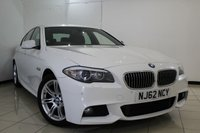 USED 2013 62 BMW 5 SERIES 2.0 520D M SPORT 4DR AUTOMATIC 181 BHP FULL SERVICE HISTORY + HEATED LEATHER SEATS + PARKING SENSOR + BLUETOOTH + CRUISE CONTROL + MULTI FUNCTION WHEEL + CLIMATE CONTROL + 18 INCH ALLOY WHEELS