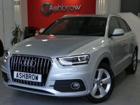 USED 2013 63 AUDI Q3 2.0 TDI QUATTRO S LINE 5d 140 S/S UPGRADE SAT NAV, UPGRADE 18 INCH 5 ARM ALLOY WHEELS, UPGRADE AUDI MUSIC INTERFACE FOR IPOD / USB DEVICES (AMI), UPGRADE PHONE PREP WITH BLUETOOTH & AUDIO STREAMING, UPGRADE NON SMOKING PACK, UPGRADE INCREASED BOOT VOLUME TO 460 LITRES, UPGRADE TYRE REPAIR KIT, PRIVACY GLASS, REAR ACOUSTIC PARKING SENSORS, QUATTRO 4 WHEEL DRIVE, LED XENON LIGHTS, BLACK 1/2 LEATHER INTERIOR, SPORT SEATS WITH ELECTRIC LUMBAR SUPPORT, AUTO LIGHT & WIPERS, FULL SERVICE HISTORY