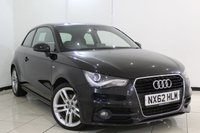 USED 2012 62 AUDI A1 1.6 TDI S LINE 3DR 105 BHP SERVICE HISTORY + HEATED HALF LEATHER SEATS + BLUETOOTH + PARKING SENSOR + MULTI FUNCTION WHEEL + 17 INCH ALLOY WHEELS
