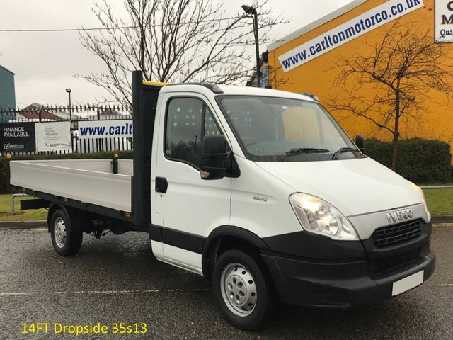 2013 13 IVECO-FORD DAILY 2.3 35S13 126 DROPSIDE 14ft + Alloy Body SRW F,S,H.Ex Lease Free UK Delivery,