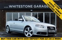 USED 2008 58 AUDI A4 2.0 TDI S LINE 2d 141 BHP DIESEL CABRIOLET S-LINE, LEATHER SEATS, 18INCH ALLOYS, 2 KEYS