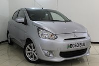 USED 2013 63 MITSUBISHI MIRAGE 1.2 3 5DR 79 BHP PARKING SENSOR + AUXILIARY PORT + AIR CONDITIONING + RADIO/CD + 15 INCH ALLOY WHEELS