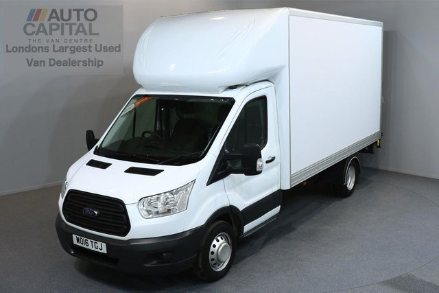 2016 16 FORD TRANSIT 2.2 350 C/C DRW 3d 153 BHP LWB RWD REAR TAIL LIFT FITTED LUTON VAN ONE OWNER FROM NEW