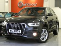 USED 2013 62 AUDI Q3 2.0 TDI S LINE 5d 140 S/S AUDI MUSIC INTERFACE FOR IPOD / USB DEVICES (AMI), BLUETOOTH PHONE & AUDIO STREAMING, REAR ACOUSTIC PARKING SENSORS, MANUAL 6 SPEED GEARBOX, START STOP TECHNOLOGY, LED XENON LIGHTS, HEADLAMP WASHERS, 18 INCH TWIN 5 SPOKE ALLOYS, FRONT FOG LIGHTS, ALUMINIUM ROOF RAILS, BLACK 1/2 LEATHER INTERIOR, SPORT SEATS WITH ELECTRIC LUMBAR SUPPORT, LEATHER 3 SPOKE SPORTS MULTIFUNCTION STEERING WHEEL, AUTO LIGHTS & WIPERS, DUAL CLIMATE AIR CON, ELECTRIC HEATED MIRRORS, 1 OWNER, FULL AUDI SERVICE HISTORY