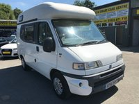 USED 2002 51 FIAT CI MOTORHOMES 1.9 MOTORHOME 4 DOOR IN WHITE WITH ONLY 28000 MILES APPROVED CARS ARE PLEASED TO OFFER THIS  FIAT DUCATO 1.9 MOTORHOME 4 DOOR IN WHITE WITH ONLY 38000 MILES IN GREAT CONDITION WITH A STACK OF HISTORY THE VAN IS A 2 BERTH WITH TOILET AND SINK A FULL SPEC MOTORHOME.