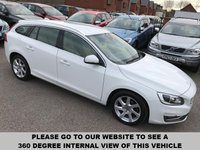 USED 2013 63 VOLVO V60 2.0 D3 SE LUX NAV 5d 134 BHP Full service history,   Full leather upholstery,   Electric/Memory driver's seat,   Bluetooth,   Satellite Navigation,   Front and rear parking sensors