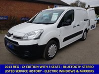 2013 CITROEN BERLINGO 625LX 90 BHP WITH 3 SEAT CAB AND ELECTRIC PACK £5495.00