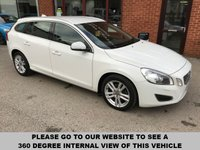 USED 2013 13 VOLVO V60 2.0 D4 SE LUX NAV 5d 161 BHP Full service history,   Full leather upholstery,   Heated front seats,   Electric/Memory driver's seat,   Bluetooth,   Satellite Navigation,   Hydraulic dog guard,   Rear parking sensors