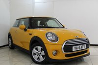 USED 2014 14 MINI HATCH COOPER 1.5 COOPER 3DR 134 BHP SERVICE HISTORY + BLUETOOTH + AIR CONDITIONING + RADIO/CD + AUXILIARY PORT + 15 INCH ALLOY WHEELS