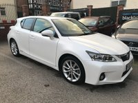 USED 2012 12 LEXUS CT 1.8 200H SE-L 5d AUTO 136 BHP ZERO road tax,  Full service history, Full leather upholstery,   Heated front seats,   Bluetooth,   Front and rear parking sensors
