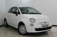 USED 2014 14 FIAT 500 1.2 POP 3DR 69 BHP FULL SERVICE HISTORY + HALF LEATHER SEATS + AIR CONDITIONING + RADIO/CD + ELECTRIC WINDOWS + ELECTRIC MIRRORS
